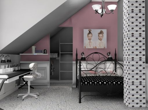 Jenterom i rosa farge