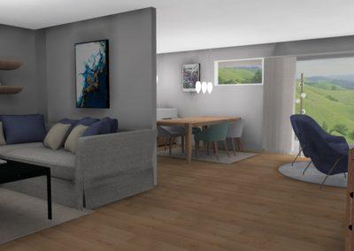 Blå stue med utsikt og hvit baderom med historiske fliser