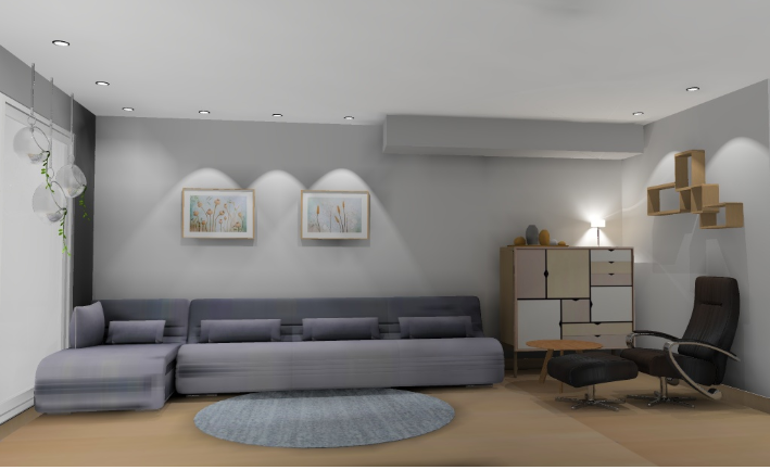 Stue i grå fargetoner