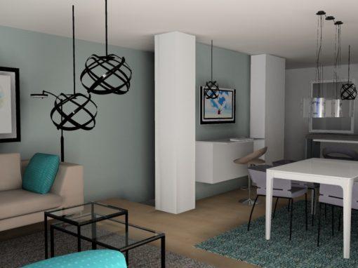 Stue, spisestue, hjemmekontor og kjøkken i ett
