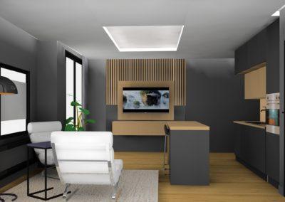 Mørk grå stue med spilevegg